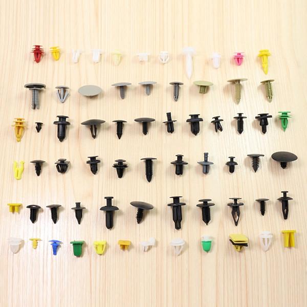 100 / 200pcs Renk Rastgele Plastik Perçinler Araba Fender Tampon İç Paneli itin Pim Klipler Bağlantı Elemanı