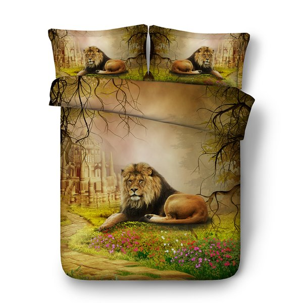 3D biancheria floreale Imposta Brown Lion ragazze dei ragazzi 3 Pezzi foresta copripiumino Comforter Quilt Bedding Castello copripiumino
