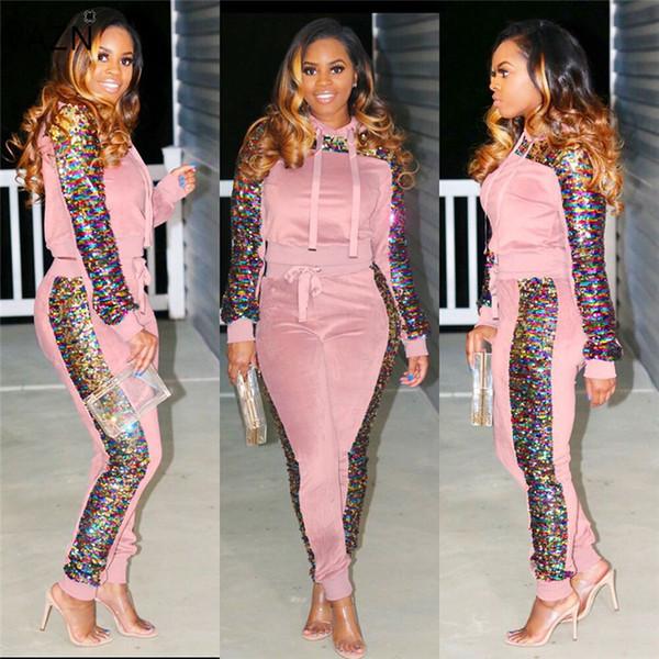 Vazn Automne de haute qualité de la mode Casual 2 femmes Piece Ensemble capuche manches pleine longueur pleine Survêtement Lady Set moulante Pn6100 J190629