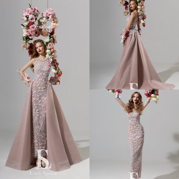 2019 Gorgeous Mermaid Evening Dresses With Over Skirt Jewel Neck Sweep Train Lace Appliqued Formal Prom Party Gowns Special Occasion Dress