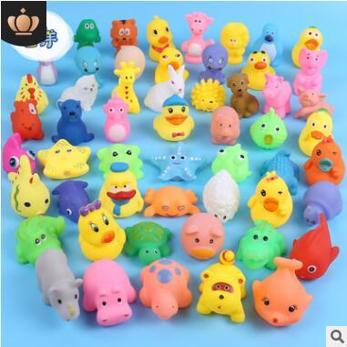 top popular Cheap Mini Yellow Rubber Ducks Starfish penguins frog fish Baby Bath Water Toys Kids Bath PVC Duck with sound Floating Duck 214 2020