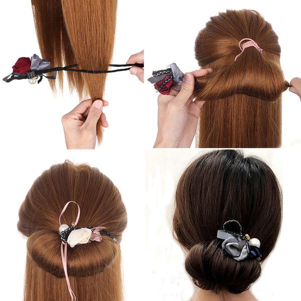 Fashion Women Flower Donut Bun Maker Big Pearls Ribbon DIY Hair Style Making Tools Korean Style Hair Curler Accessories