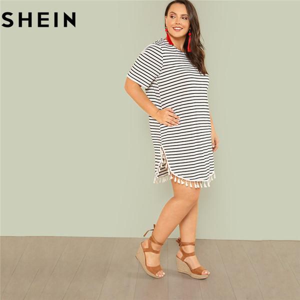 Compre Shein Listra Preto E Branco Plus Size Em Linha Reta Mini Vestido Casual Mulheres Verão Borla Enfeitada Curvo Hem Vestidos Curtos Y19012201 De