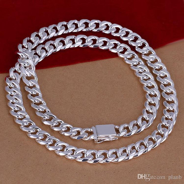 Nunca desaparecer Moda Luxo Figaro Cadeia de jóias homens 925 prata banhado 10mm imitação ródio Colares de cadeia para homens