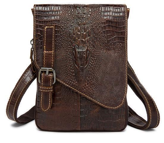The First Layer Of Cow Leather Crocodile Pattern Mens Shoulder Bag Messenger Bag Casual Genuine Leather Mens Ipad