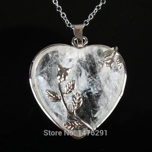 Venta al por mayor- Nuevo cristal claro natural en forma de corazón con incrustaciones de flores colgantes de joyería 1PCS regalo para las mujeres