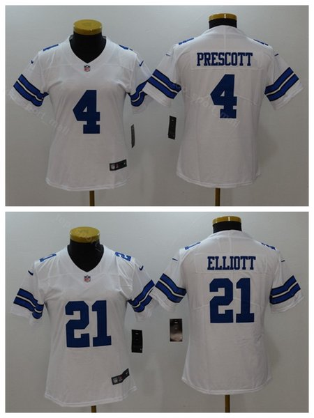 sale retailer 73446 cdf28 2019 Women Dak Prescott Jersey 4 Dallas Cowboys Lady Football Woman Ezekiel  Elliott Jerseys 21 Blue White Thanksgiving Pink Salute To Service From ...