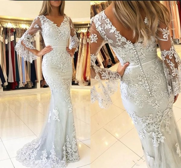 2019 New Cheap Mother Of Bride Dresses Long Poet Sleeves Lace Appliques Mermaid Sweep Train Formal Wedding Guest Mother of the Bridal Gowns