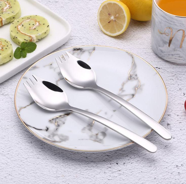 304 Edelstahl Gabeln Lebensmittelqualität Edelstahl 304 Spork Glossy Polish Noodle Spoon Western Knife Gabel Teelöffel Esslöffel SN3591