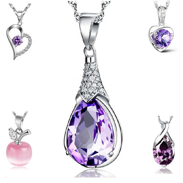 Silver Necklaces Purple Crystal Pendant Necklaces for Girl Apple Heart Drop Styles Fashion Jewlery Wholesale Free Shipping 0324WH