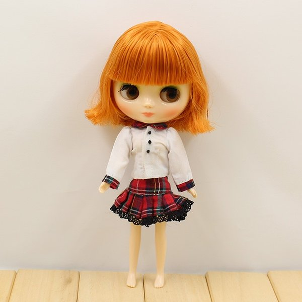 Fortune Days Nude Factory Middle Blyth doll brown short hair with bangs suitable for change toy white skin Neo
