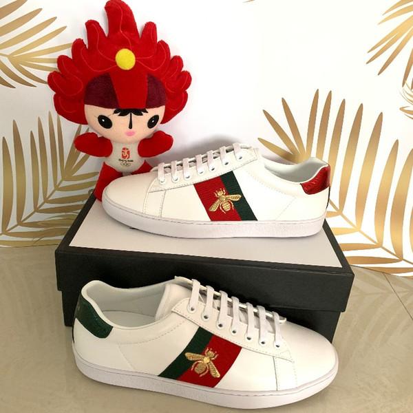 Boîte originale nouveau designer hommes chaussures haute qualité luxe designer de luxe chaussures de sport en plein air chaussures hommes occasionnels ace chaussures abeille taille 35-47