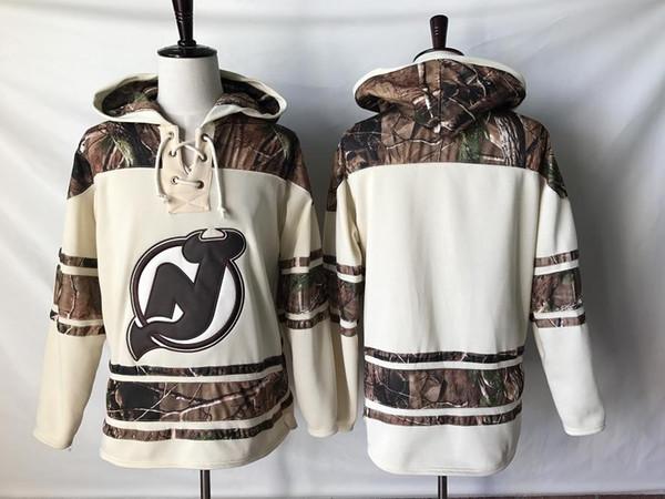Üst kalite ! 2019 Yeni New Jersey Devils Eski Zaman Hokeyi Formalar Camo Özel Hoodie Kazak Tişörtü Spor Kış Ceket