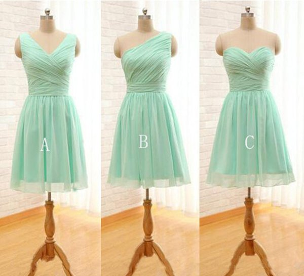 Bridesmaid Dresses Cheap Pleated Short Chiffon Bridesmaid Dress Mint Green Knee Length Wedding Party Dress Mixed Order Plus Size