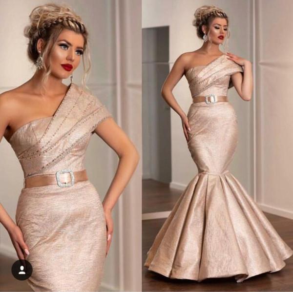 Evening dress Mermaid Sleeveless One_Shoulder Chamgapne Crystal Sash Classic Customizable in any size Modern 1 Customizable