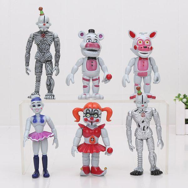 6pcs /Set Five Nights At Freddy 'S 4 Fnaf Figure Foxy Gold Freddy Chica Freddy Sister Location Pvc Figure Toys Model Doll