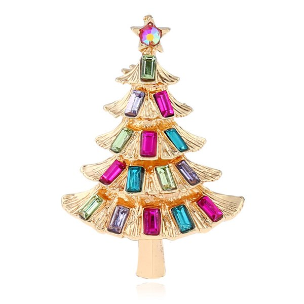 Christmas tree diamonds brooch pins for women colorful crystal brooches girl Xmas gift pin jewelry 4 colors golden silver free shipping