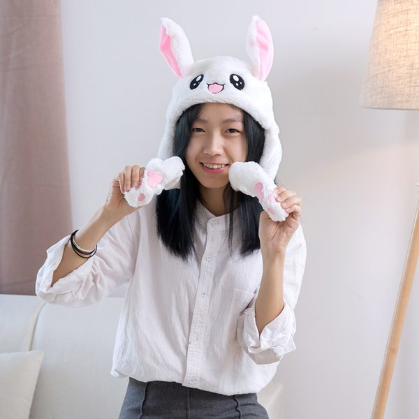 Cute Funny Rabbit Hat With Moving Ears Comfortable And Skin-Friendly To Touch