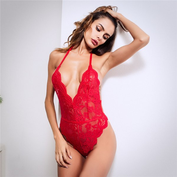 Sexy Deep V Neck One-Piece Lace Bodysuit Women Backless Halter Hollow Out Jumpsuits Back Bandage Stretch Leotard Bodysuits