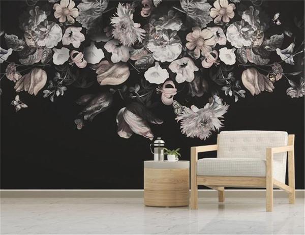 Europäische Retro nostalgische handgemalte Blumenfernsehhintergrundwand Blumentapete für Wände Förderung
