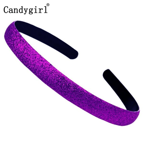104pcs Sequin hairband Colored Kids Covered Hair Accessories Plastic Headbands Women Glitter Shiny Frosted Candy Color Hair Hoop