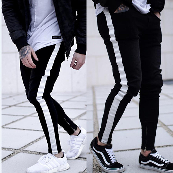 Men's Casual Stripes Jeans Slim Fit Stretch Denim Pants Zipper and Skinny Denim Trousers Black and White Color Jeans
