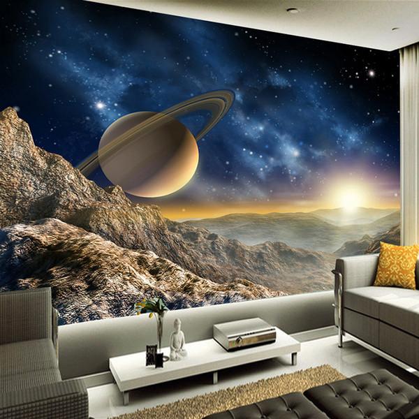 Custom Any Size Mural Wallpaper 3D Estéreo Planet Moon Mural Restaurante Clubes KTV Bar Decoración moderna y creativa Papel tapiz de papel Tapiz