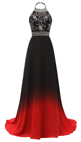 New Sexy 2019 Halter Crystals Beads Long Gradient Prom Dresses Chiffon Backless Plus Size Ombre Cocktail Evening Party Gown QC1320