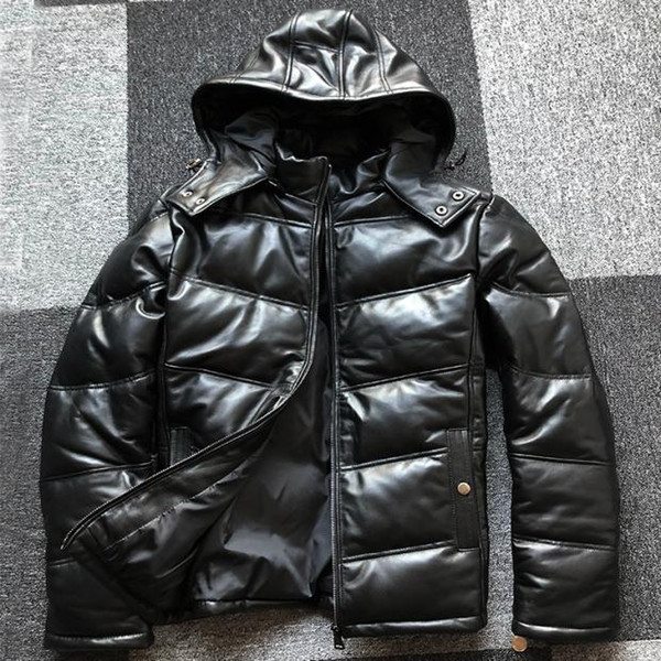 2019 winter fashion men's duck down coat genuine sheepskin leather with a hat hood male jacket parkas black plus size xxxl 3xl