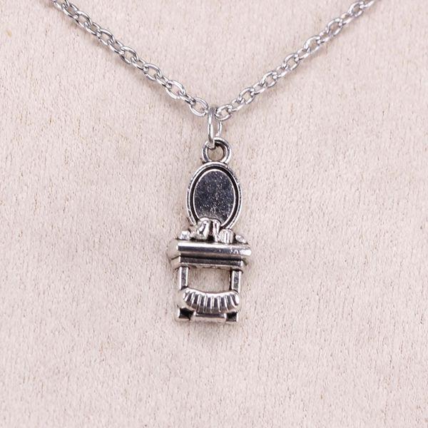 New Fashion Tibetan Silver Pendant toilet table 20*9mm Choker Charm Short Long DIY Necklace Factory Price Handmade Jewelry