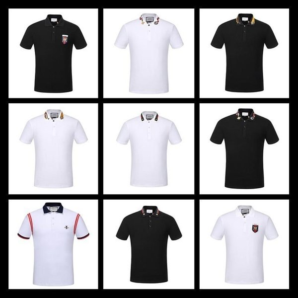 2019 Fashion Brand New Luxury Designer Casual Men Polo T Shirts Embroidery  Snake Bee Floral Stripe Print Mens Polos 12 Colour Size M 3XL From