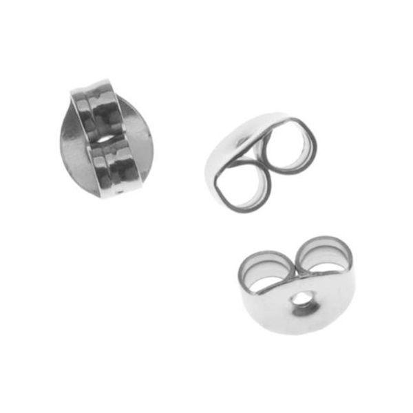 ELOS-High Quality 100pcs/lot Stainless Steel Earrings Jewelry Metal Ear Earring Back Earring Stopper DIY Jewelry Accessories