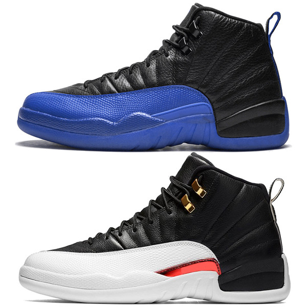 Acheter Nike Air Jordan 12 Retro Discount Taxi 12 12s Hommes Chaussures De Basket Ball CNY Blanc Noir Grippe Jeux Le Master Gamma French Blue Playoffs