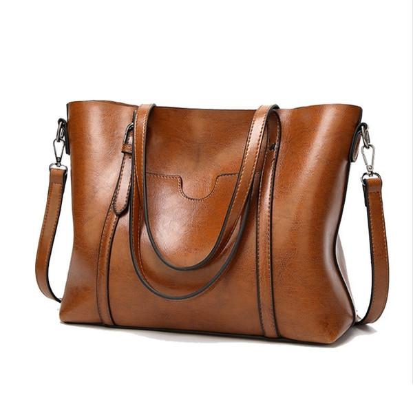 2019 Large Capacity Women Bag Vintage Ladies Handbags Zipper Casual Pu Clutch Oil Wax Leather Totes Women Shoulder Bags Tote