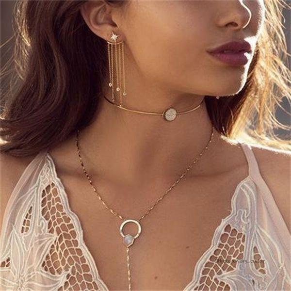Donne Classic Star fiocco di neve di cristallo con strass catena nappa oro argento orecchini set accessori per gioielli festa di nozze di fascino