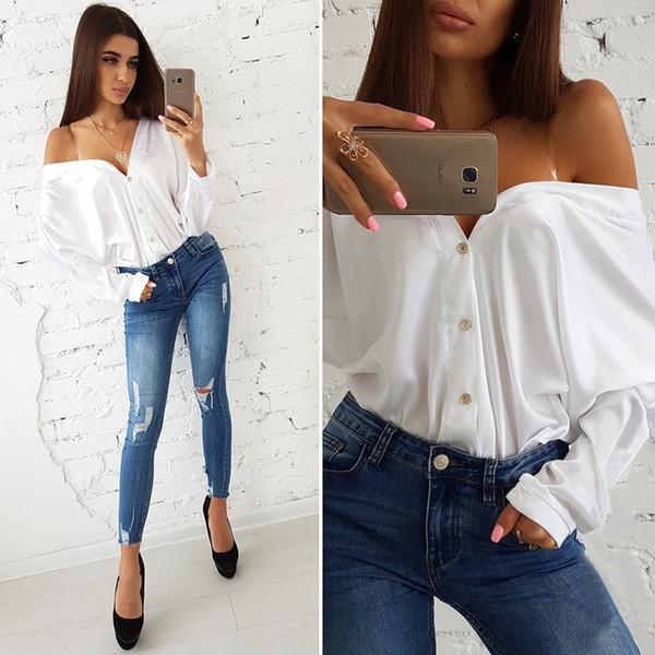 0abcf6bc4652cc drop shoulder shirts Promo Codes - Sexy Off Shoulder Shirt Single Breasted  Long Sleeve Shirt Tops