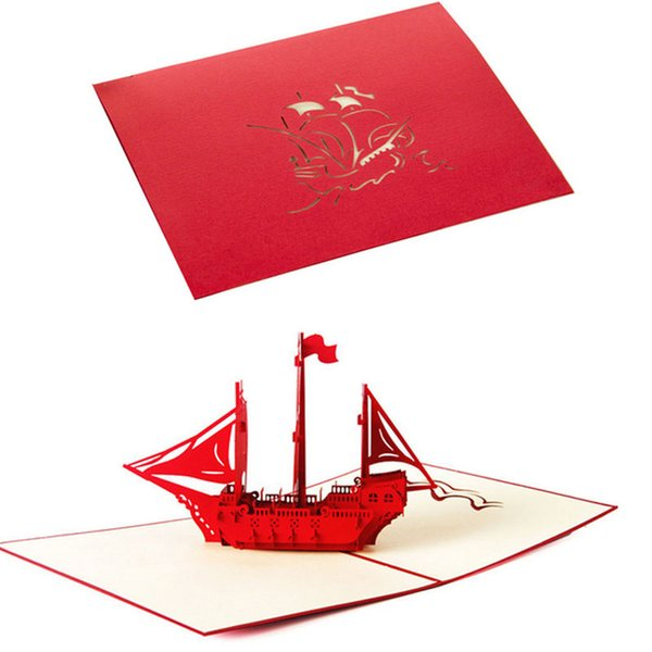 Hasta 3D Tarjeta de felicitación del velero de cumpleaños de la Navidad Gracias tarjeta de la tarjeta D08D