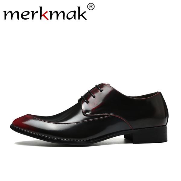Merkmak Spring Oxfords para hombre Zapatos de marca de lujo Sólidos zapatos de cuero degradado Hombres Fiesta cómoda Tamaño grande38-48 Calzado Pisos