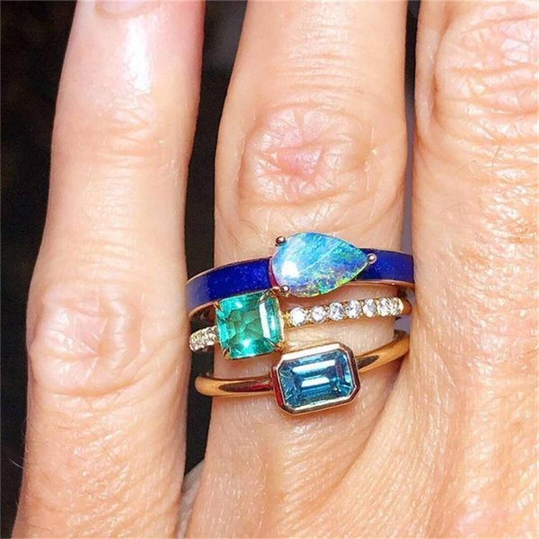 3 Pcs/set Simple Crystal Gem Drop Square Geometry Gold Joint Ring Women Fashion Party Wedding Jewelry Accessories