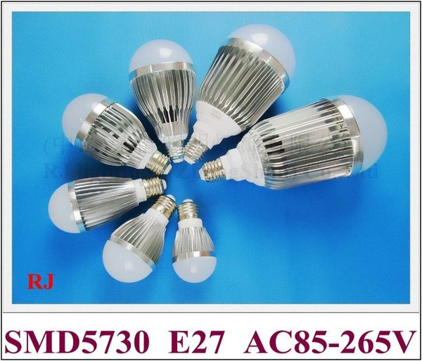 SMD 5730 LED bulb E27 LED bubble ball bulb globe light 3W 5W 7W 9W 12W 15W 18W AC85-265V E27 aluminum high bright long life CE