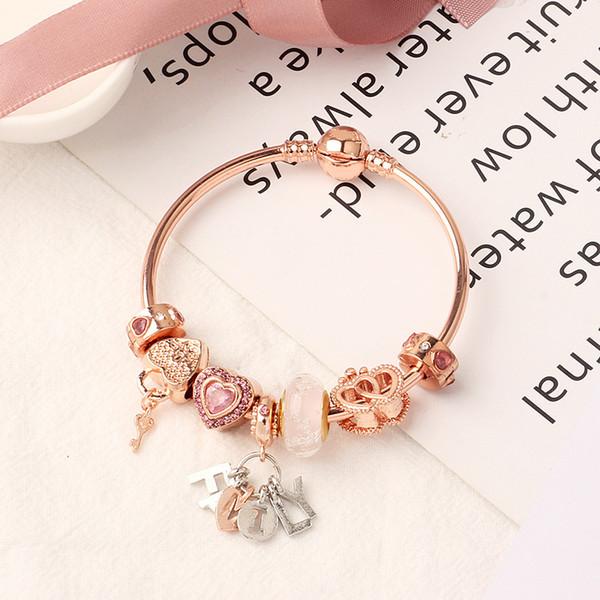 top popular 2020 Pandora New rose gold family bracelet heart chain bracelet 18CM 19CM 20CM wholesale Free shipping 2021