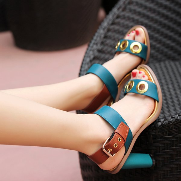Green White Women Cutout High Heeled Fashion Gladiator Thick Summer Sandals Shoes Buckles Dress Wedding Party Sandals Shoes