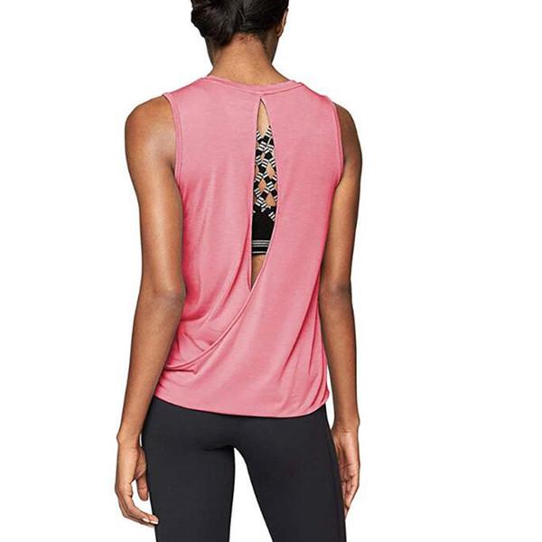 Tops de treino para mulheres ginásio de fitness camisa aberta de volta sem mangas simples tanque correndo colete senhoras yoga top elegante camisa do esporte colete