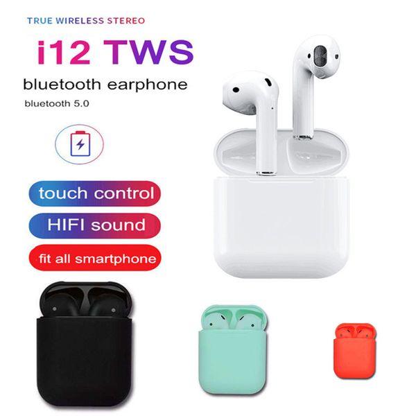 i12 tws bluetooth 5.0 auriculares bluetooth inalámbricos Auriculares auriculares inalámbricos con control táctil de colores con caja de cargador
