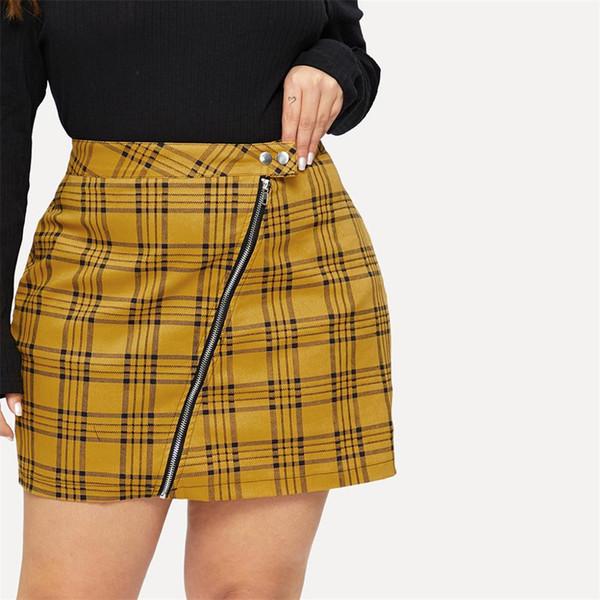 Women's Autumn And Winter Large Size Skirt Slim Plaid Bag Hip Skirt Large Size High Waist Knees Pleated Midi Women
