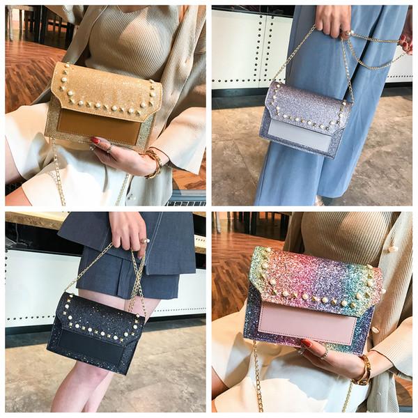 top popular 4styles Sequin Small flap Square Bag Chain Flap Shoulder Bags Women Handbags Sequins Messenger bag party beach bag FFA1907 2019