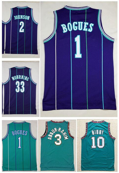 best selling Men's 10# Mike Bibby Jersey 3# Shareef Abdur Rahim 50# Bryant Reeves 1# Muggsy Bogues Green White Purple Larry 2# Johnson 33 Alonzo Mourning
