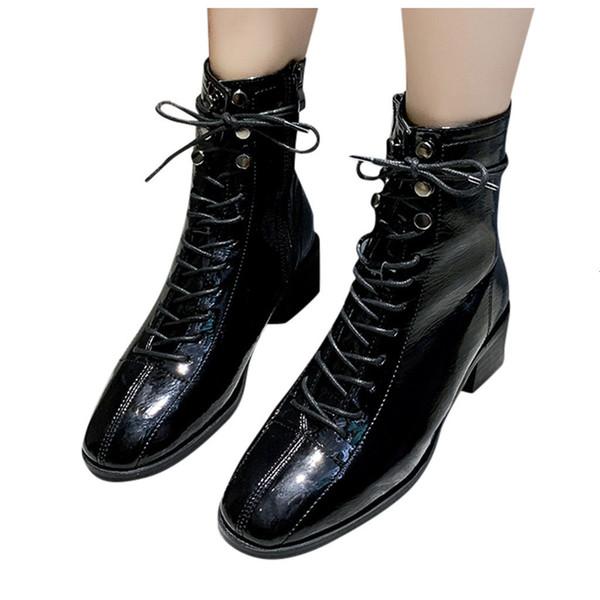 Place Bottes moto Femmes Talon sauvage Mode à lacets Casual court bottillons Boucle Plate-forme artificielle en cuir Lady Chaussures
