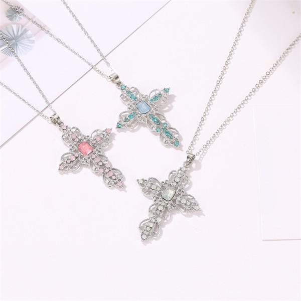 Collana con ciondolo a croce per donna Uomo Collana con imitazione di diamanti Collana a catena lunga con catena di gioielli all'ingrosso