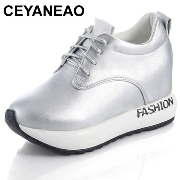 Dress Shoes Ceyaneao 2019 Autumn Women Sneakers Platform Increased Internal Casual Woman Oxfords Lace Up Black White Silver 35-39e855